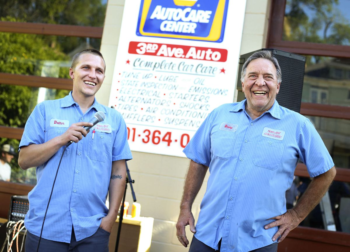 Dallin Rose, left, speaks for his father, Bobby, owner of 3rd Ave. Car Clinic, at his retirement party in Salt Lake City on Thursday, May 27, 2021. Rose is retiring and closing his auto repair shop after 34-plus years.