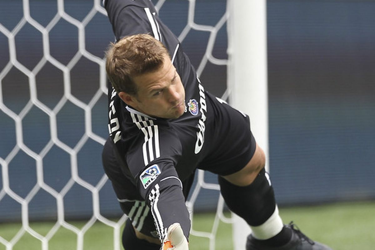 SEATTLE - AUGUST 13:  Play of the game from Dan Kennedy for Chivas USA (Photo by Otto Greule Jr/Getty Images)