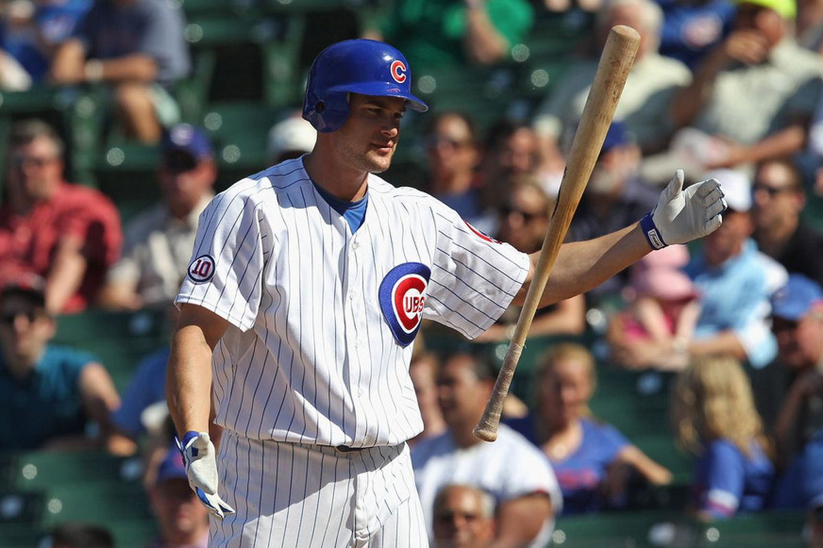 Brad Synder of the Chicago Cubs reacts after striking out in the 9th inning against the Houston Astros at Wrigley Field on June 1, 2011 in Chicago, Illinois. The Astros defeated the Cubs 3-1. (Photo by Jonathan Daniel/Getty Images)