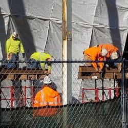 Closeup of work in right field area