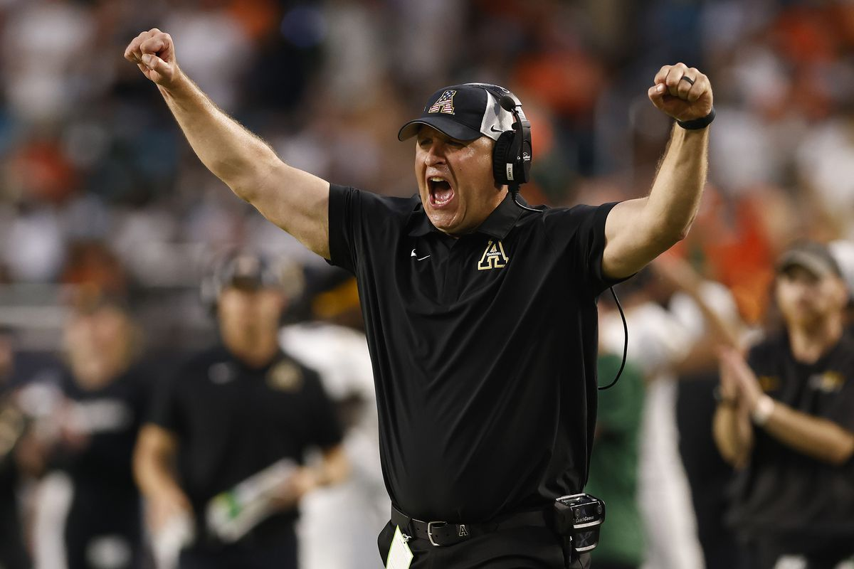 Head coach Shawn Clark of the Appalachian State Mountaineers reacts against the Miami Hurricanes at Hard Rock Stadium on September 11, 2021 in Miami Gardens, Florida.