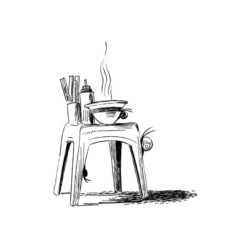 An illustration of a bowl of soup, container of chopsticks, and squeeze bottle on top of a stool