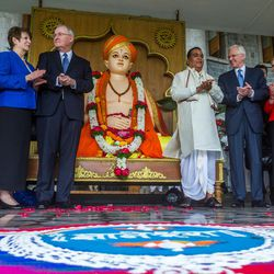 Elder D. Todd Christofferson, third from right, a member of the Quorum of Twelve Apostles for The Church of Jesus Christ of Latter-day Saints, speaks to Prof. Dr. Vishwanath D. Karad, President, World Peace Centre (Alandi), MAEER's MIT World Peace University, as they pose with Sister Kathy Christofferson at Elder Christofferson's side and other guests and members of the LDS Church at the university prior to attending an award ceremony in Pune, Maharashtra, India, on August 14, 2017.
