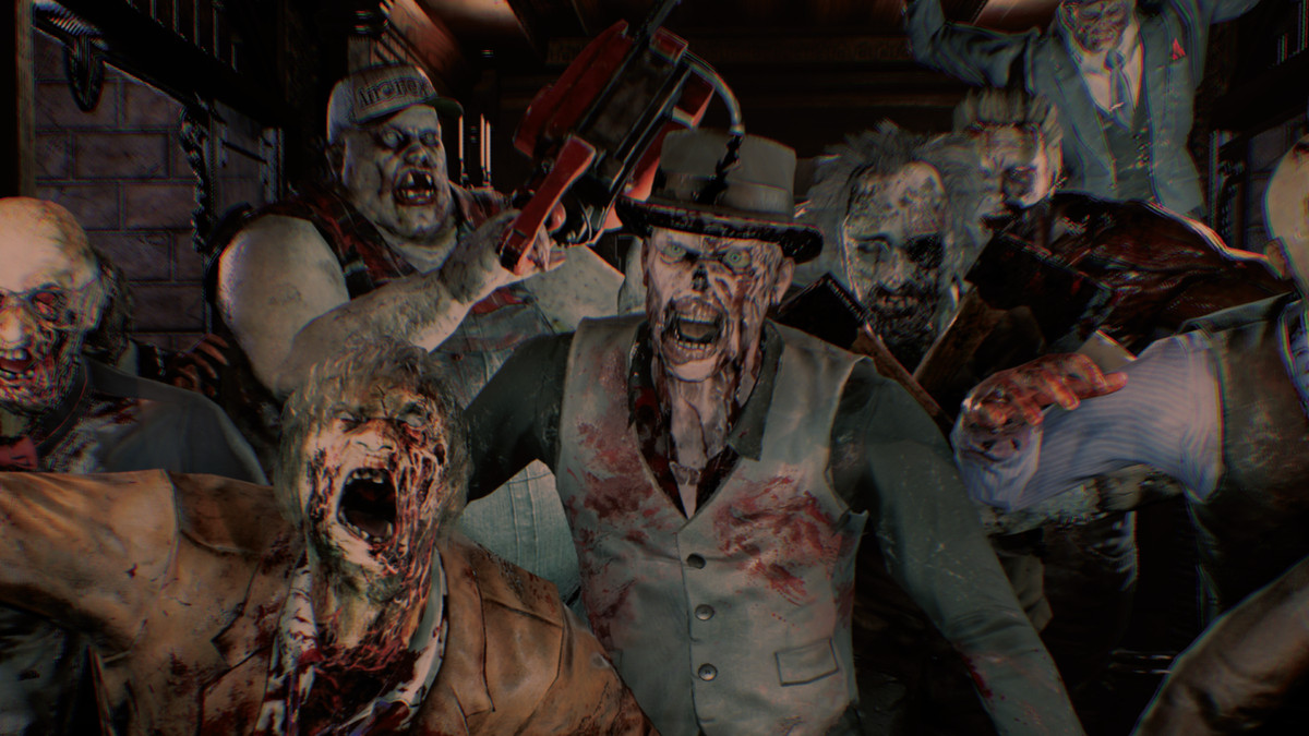 A crowd of zombies roar at the camera in House of the Dead Scarlet Dawn.