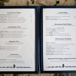 The new menu—with lots of old-school Weird Fish memories