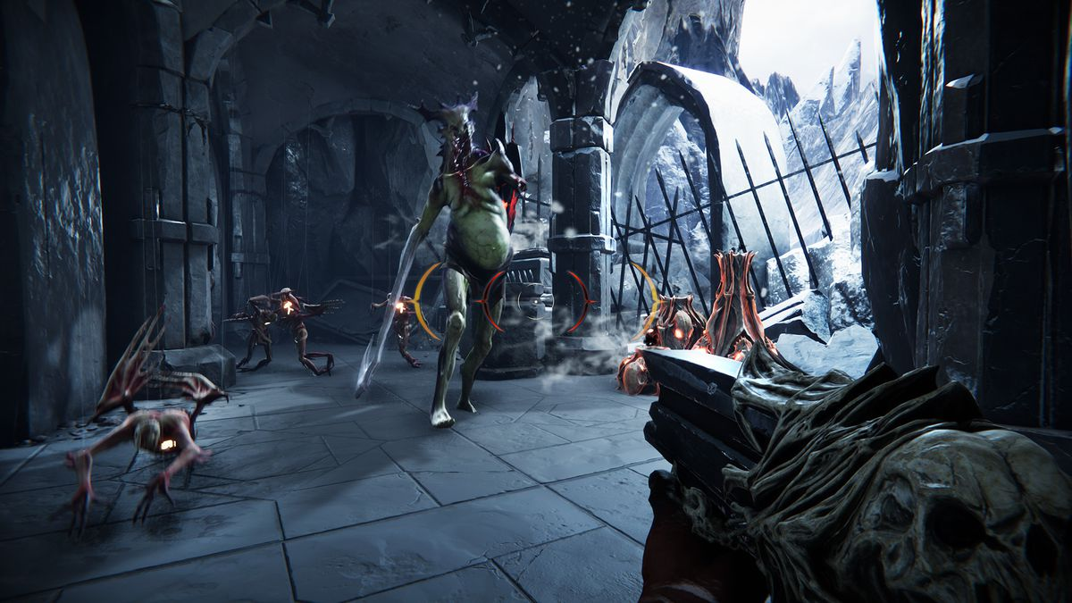 A player aims at a swarm of demons in a screenshot from Metal: Hellsinger