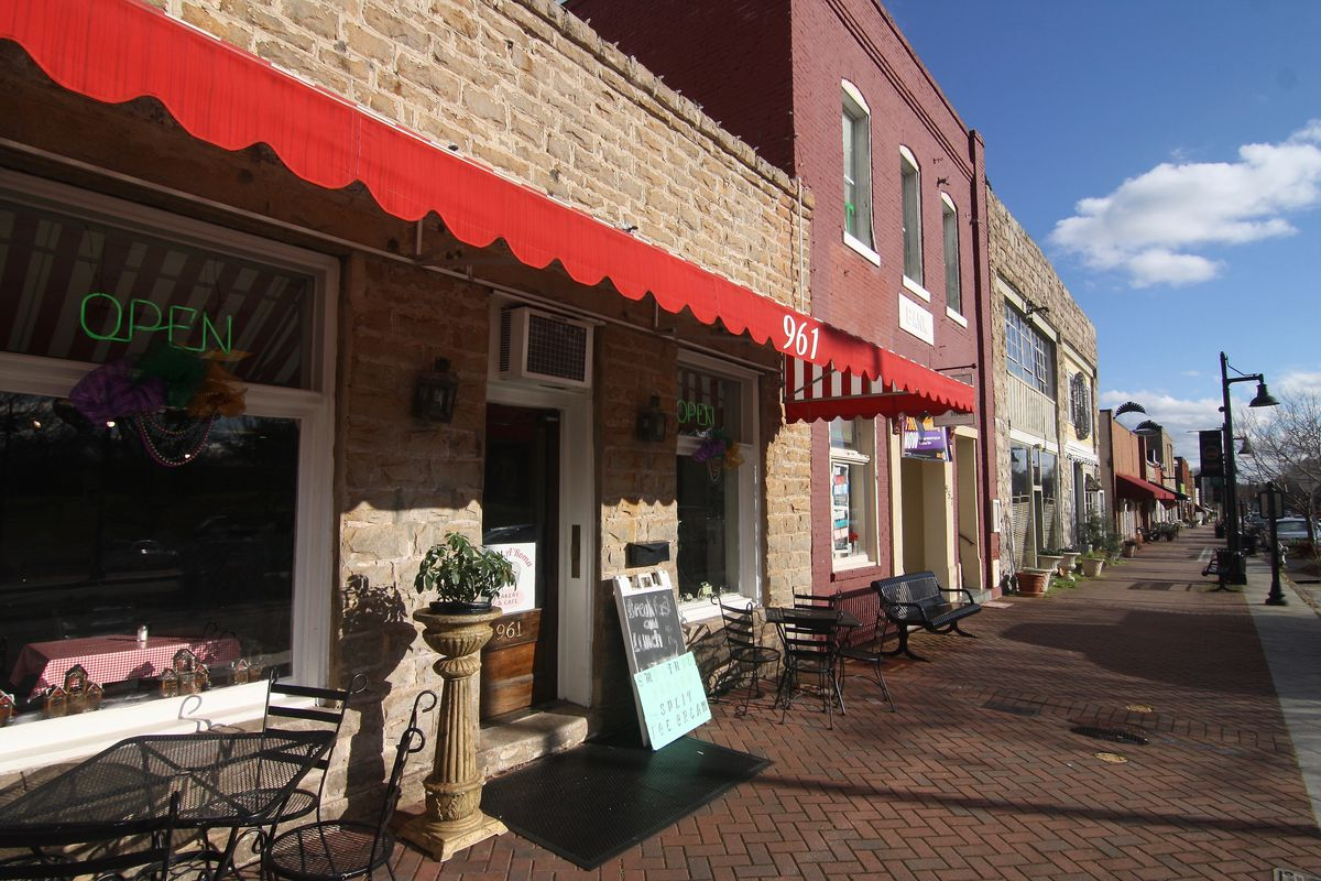 A line of old storefronts that's main Street in Stone Mountain.