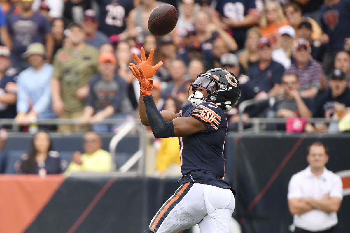 Chicago Bears wide receiver Darnell Mooney (11) catches the ball in the first half against the Detroit Lions at Soldier Field.