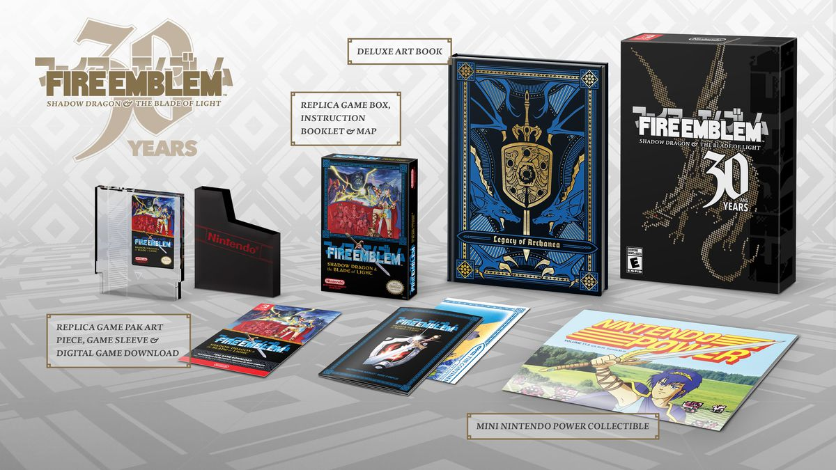 The contents of the Fire Emblem: Shadow Dragon & the Blade of Light 30th Anniversary Edition