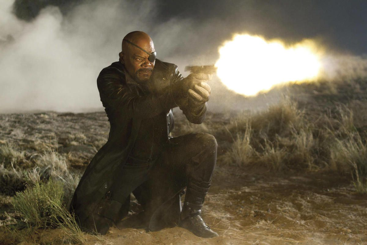 """In this film image released by Disney, Samuel L. Jackson portrays Nick Fury in a scene from Marvel's """"The Avengers."""" The film will be released on May 4."""