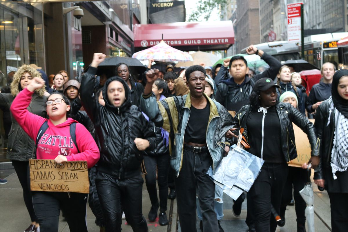 Beacon High School students marched to Trump Tower Tuesday morning.