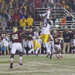 Bryce Dixon makes a nice snag over the middle.
