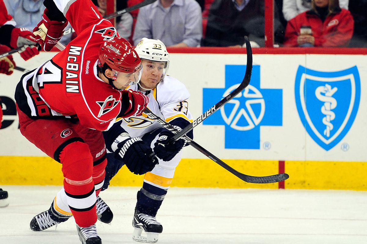 RALEIGH, NC - FEBRUARY 28:  Colin Wilson #33 of the Nashville Predators battles with Jamie McBain #4 of the Carolina Hurricanes during play at the RBC Center on February 28, 2012 in Raleigh, North Carolina.  (Photo by Grant Halverson/Getty Images)