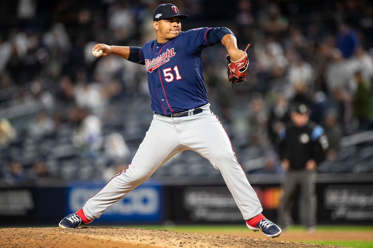 Brusdar Graterol of the Minnesota Twins pitches against the New York Yankees on October 4, 2019 in game one of the American League Division Series at Yankee Stadium in the Bronx borough of New York City.