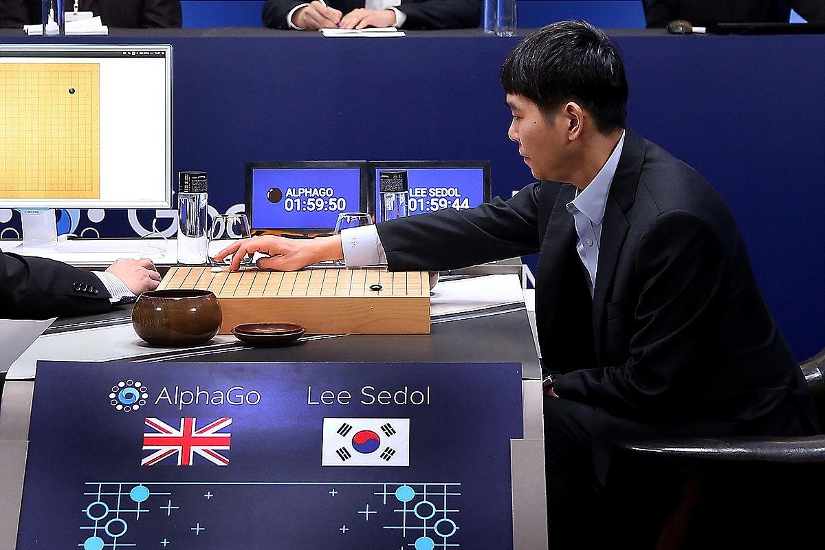 Lee Sedol playing against AlphaGo