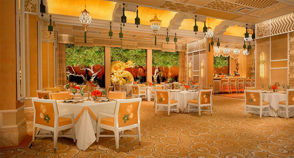 Restaurant interior with yellow and green accents