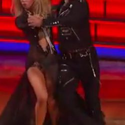 """David Arquette and his pro partner Kym Johnson were forced to do a tango to """"Tainted Love."""" They decided to rock a Lita-Ford-meets-80s-gay-biker-bar aesthetic."""