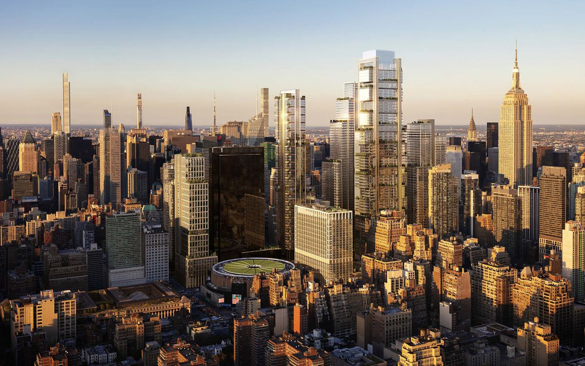 A rendering of the new New York skyline via a developer linked to the Empire Station Complex proposal.