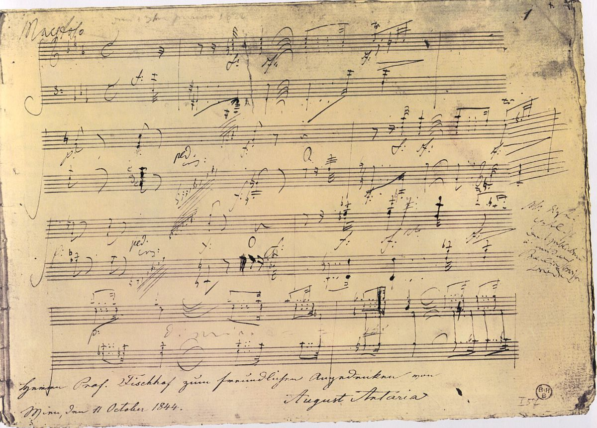 The first autograph page of Beethoven's Piano Sonata No. 32