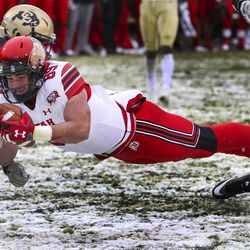 Utah Utes tight end Cole Fotheringham (89) dives for the goal line after hauling in a pass during the University of Utah football game against the University of Colorado at Folsom Field in Boulder, Colorado, on Saturday, Nov. 17, 2018.