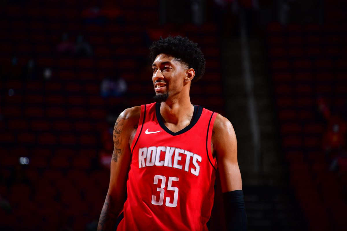 Christian Wood of the Houston Rockets smiles during the game against the Sacramento Kings on January 2, 2021 at the Toyota Center in Houston, Texas.