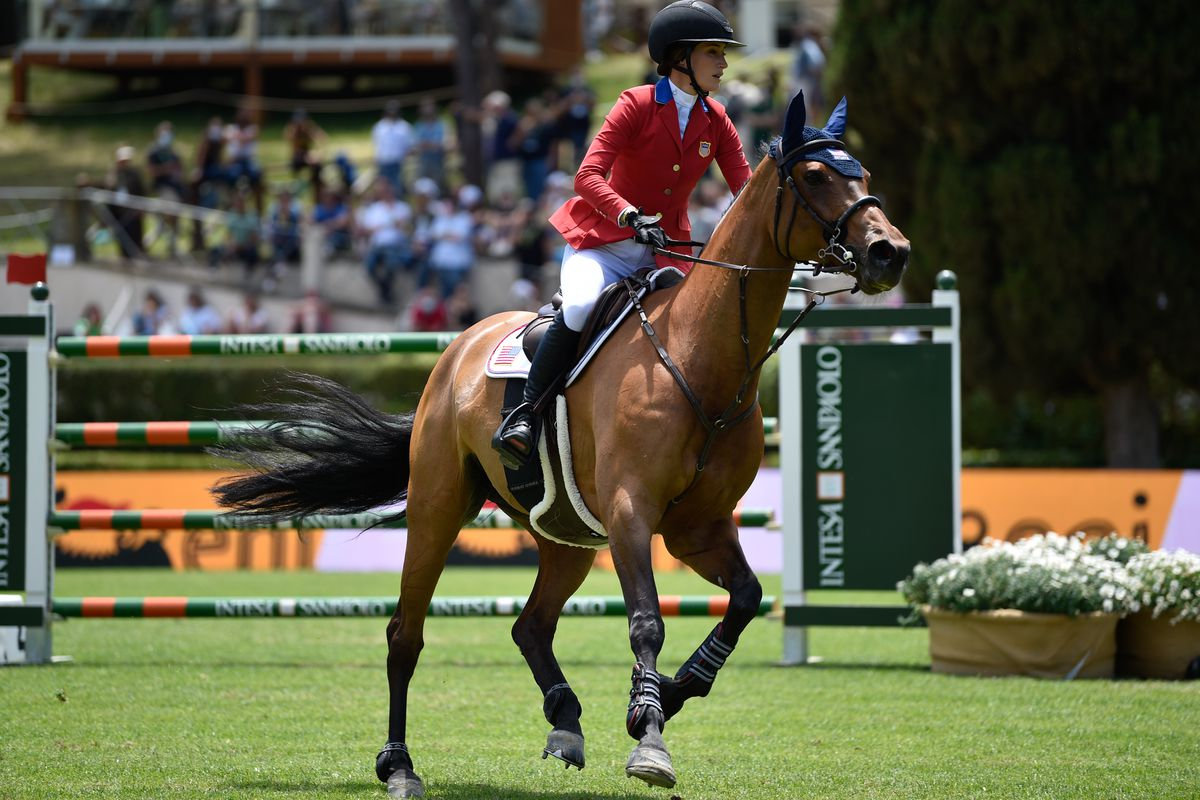 Jessica Springsteen of USA riding Rmf Zecilie during the Small Grand Prix ENI category h1.55 mixed competition May 29, 2021 in Rome, Italy.