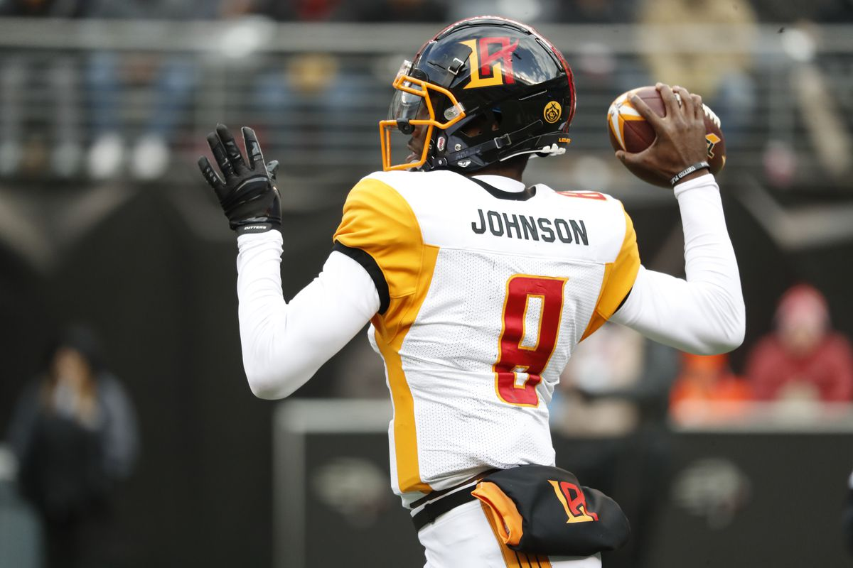 Josh Johnson #8 of the LA Wildcats reacts during the second half of their XFL game against the NY Guardians at MetLife Stadium on February 29, 2020 in East Rutherford, New Jersey. The NY Guardians won, 17-14.