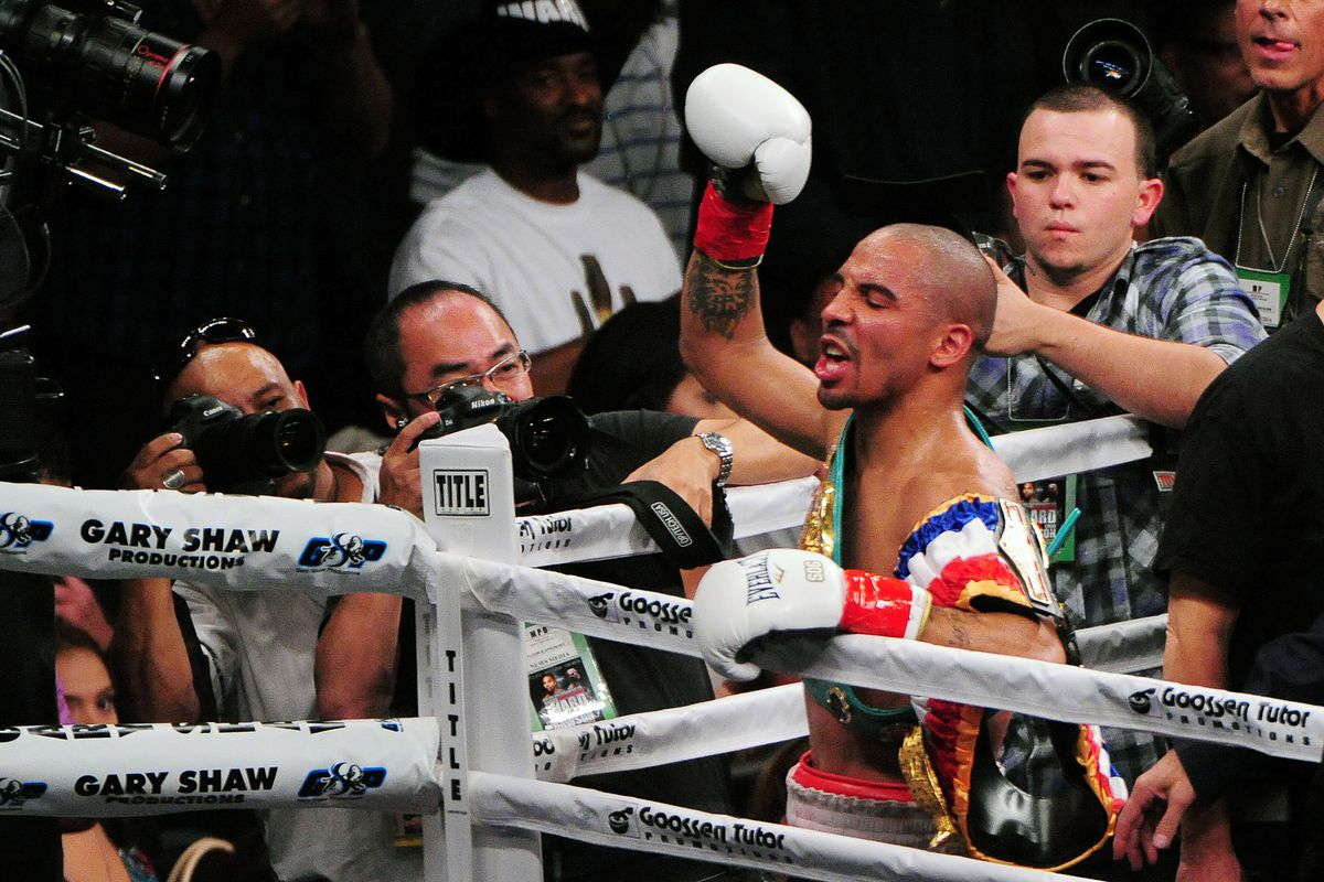 September 8, 2012; Oakland, CA, USA; Andre Ward (red gloves) celebrates after defeating Chad Dawson (blue gloves) during the WBA/WBC super middleweight championship at ORACLE Arena. Mandatory Credit: Kyle Terada-US PRESSWIRE