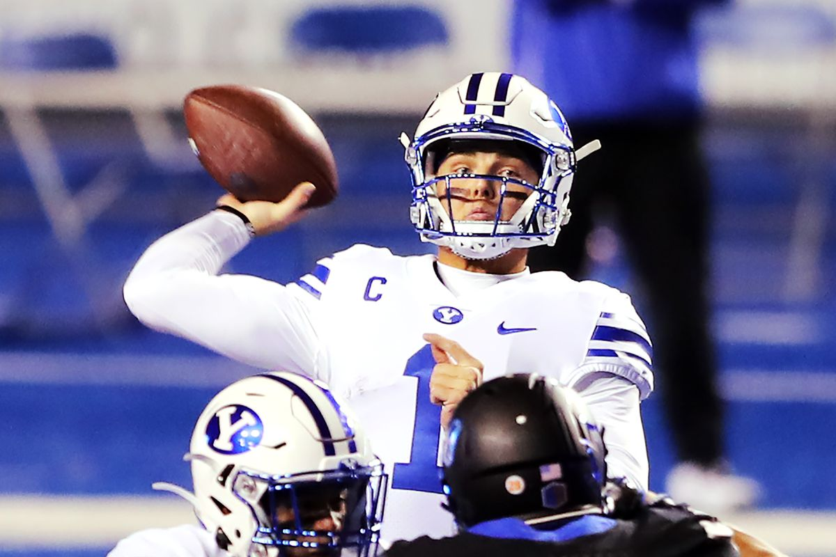 BYU quarterback Zach Wilson (1) delivers a pass as BYU and Boise State play a college football game at Albertsons Stadium in Boise on Friday, Nov. 6, 2020.