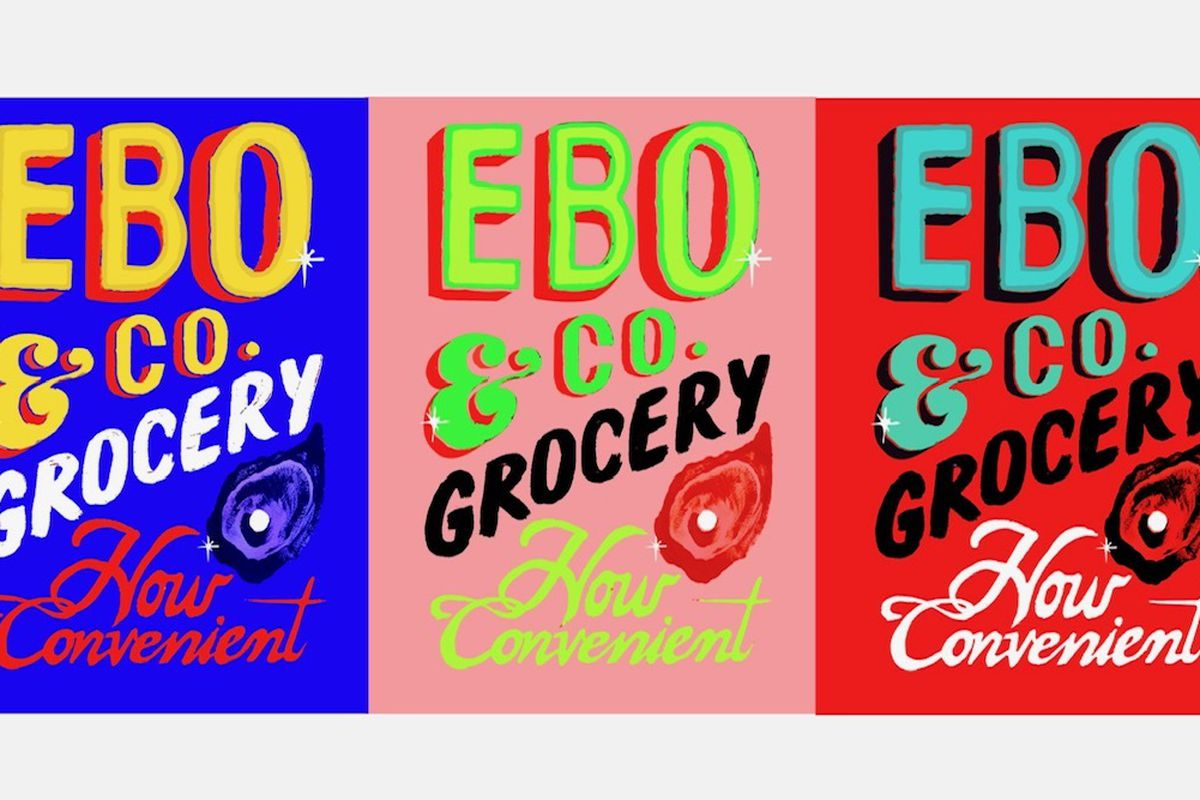 Artwork for EBO & Co. Grocery, featuring three side-by-side panels that are identical except for their color schemes. Each features EBO & Co. Grocery, How Convenient, written in bold and colorful lettering, embellished with an oyster.