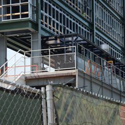 2:59 p.m. The back of the patio beneath the right-field video board -