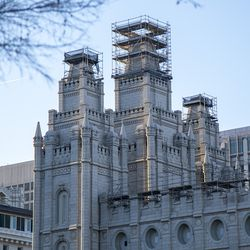 Scaffolding surrounds the spires of The Salt Lake Temple, which is under renovation, during the 191st Annual General Conference ofThe Church of Jesus Christ of Latter-day Saints on Saturday, April 3, 2021.