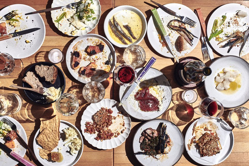 A spread of food and wine from the Four Horsemen.