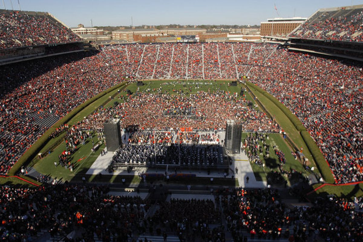 Nearly 80,000 fans gathered in Jordan-Hare Stadium to celebrate the Auburn Tigers National Championship Saturday January 22, 2011 in Auburn, Alabama.