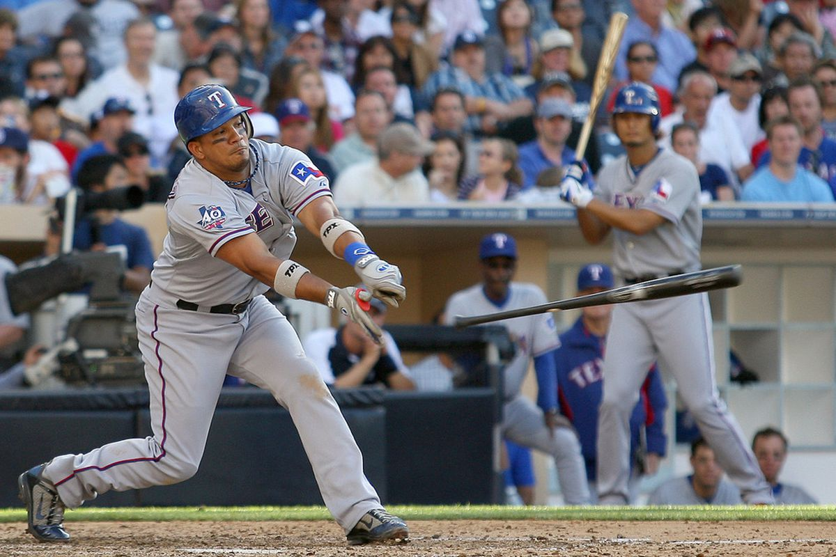 June 20, 2012; San Diego, CA, USA; Texas Rangers second baseman Alberto Gonzalez (14) losses his bat during the eighth inning against the San Diego Padres at PETCO Park. Mandatory Credit: Jake Roth-US PRESSWIRE