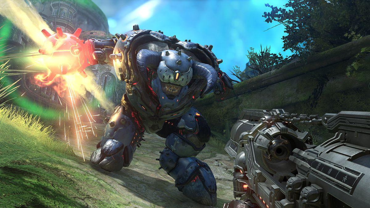 A huge demon wearing powered armor attacks the Doom Slayer