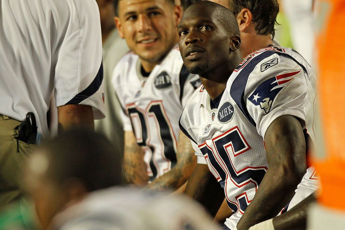 MIAMI GARDENS, FL - SEPTEMBER 12:   Chad Ochocinco #85 of the New England Patriots looks on during a game against the Miami Dolphins at Sun Life Stadium on September 12, 2011 in Miami Gardens, Florida.  (Photo by Mike Ehrmann/Getty Images)
