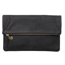 """Clare Vivier foldover clutch, <a href=""""http://www.clarev.com/collections/clutches/products/foldover-clutch#Black-Nubuck-FOC"""">$194</a>"""