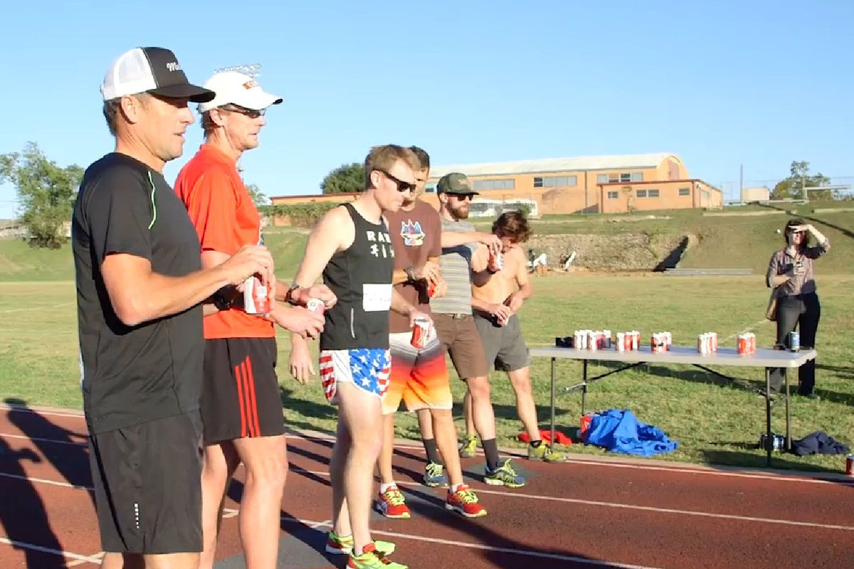 Lance Armstrong's attempt at the Beer Mile was short-lived.
