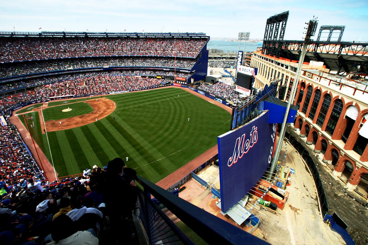 The new CitiField is seen at right as the Mets take on the P