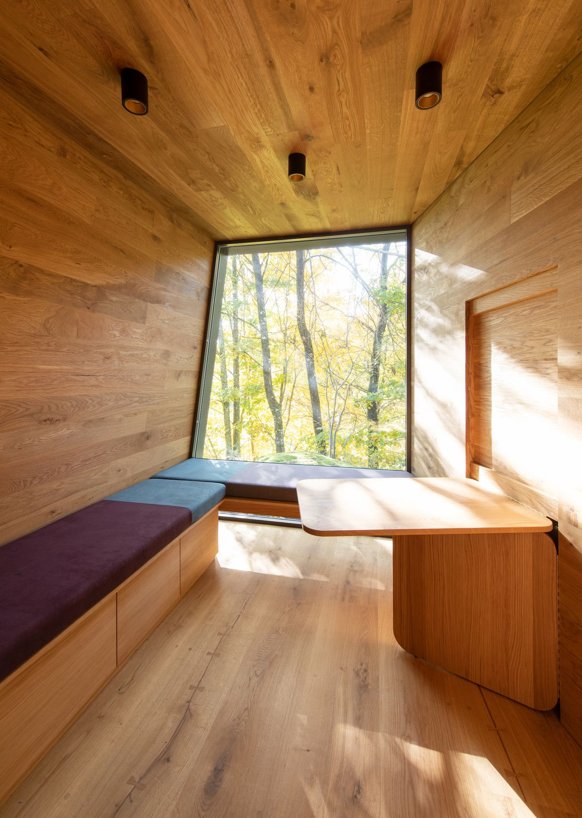 Sun-filled room with cushioned benches