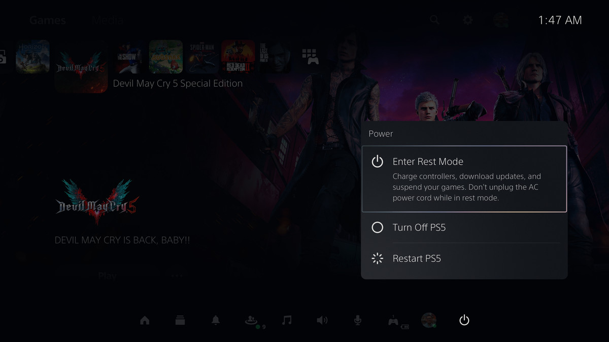 the power options in the PS5's Control Center: Enter Rest Mode, Turn Off PS5, and Restart PS5
