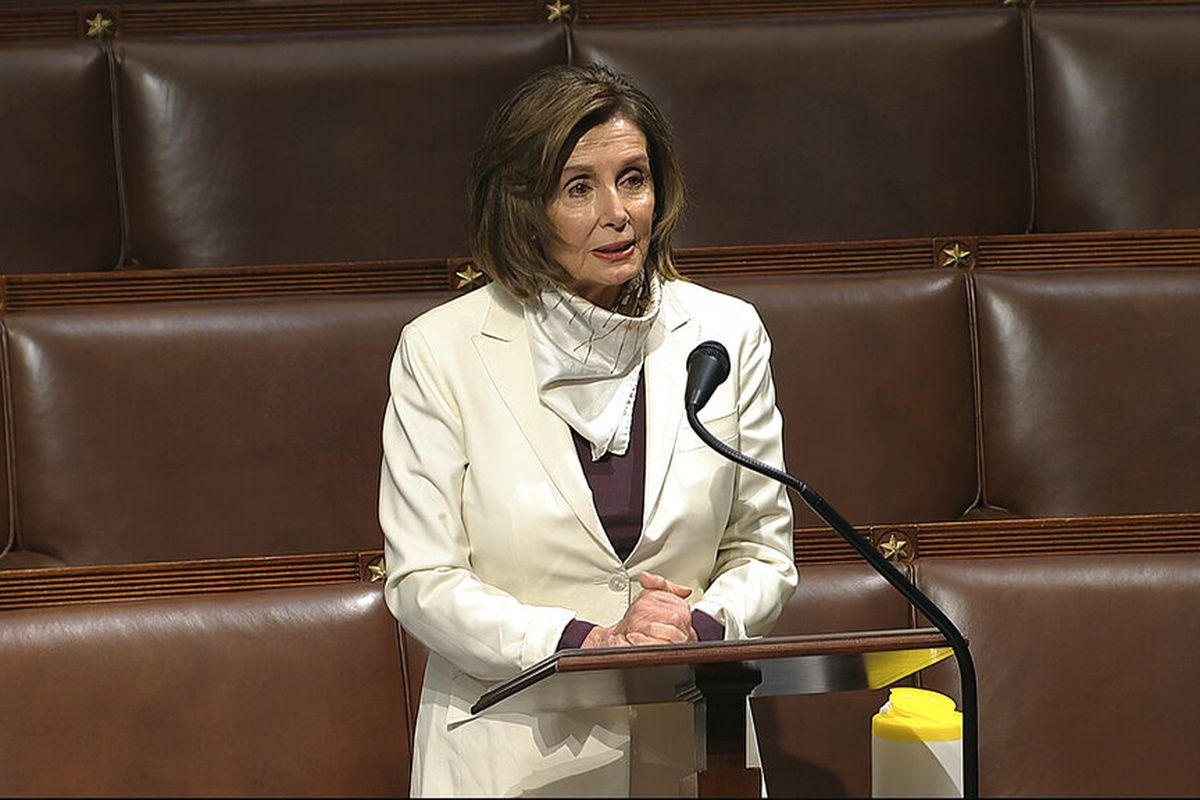 House Speaker Nancy Pelosi of Calif., speaks on the floor of the House of Representatives at the U.S. Capitol in Washington