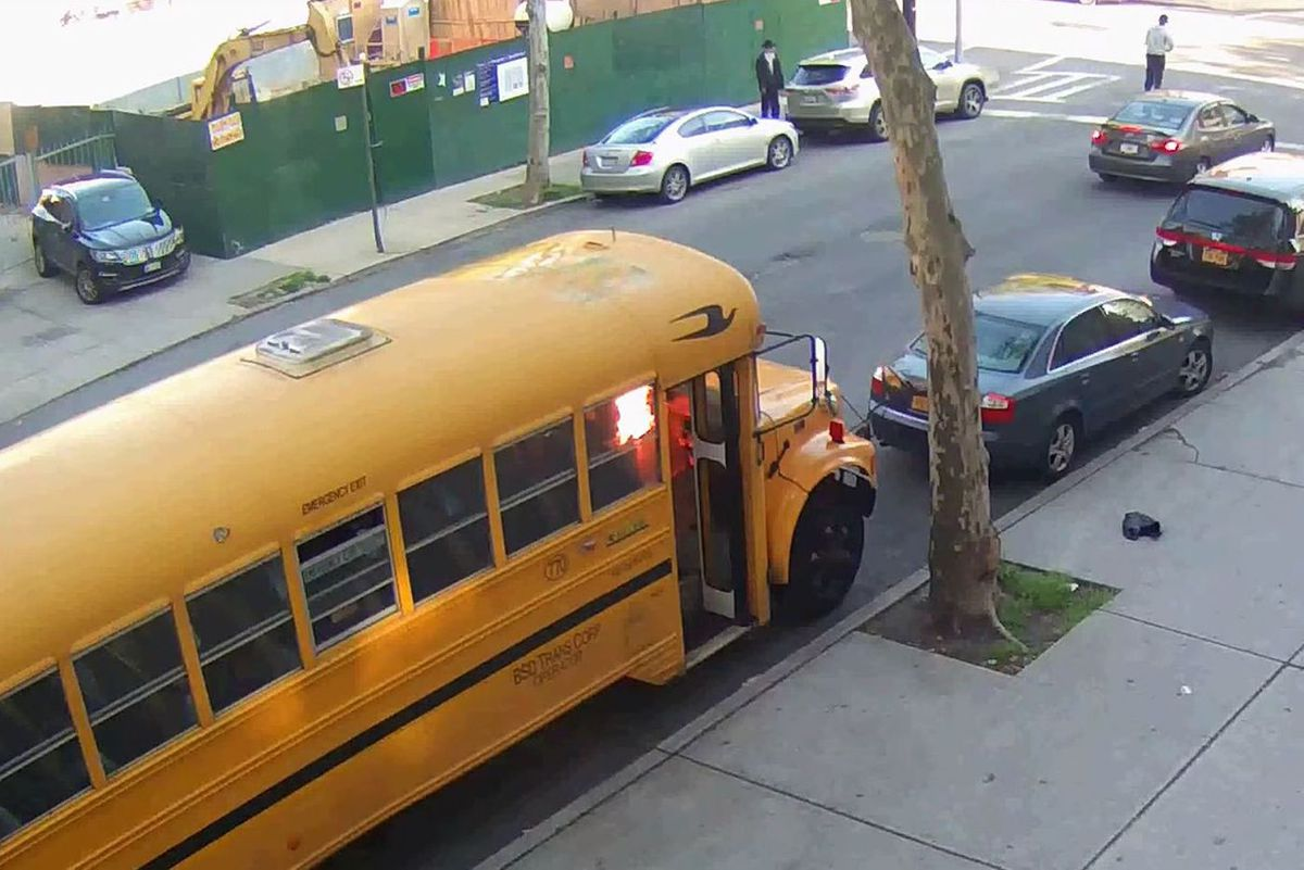 Private schools were granted taxpayer-funded security guards after incidents including a school bus set ablaze outside a Brooklyn yeshiva in May 2016.