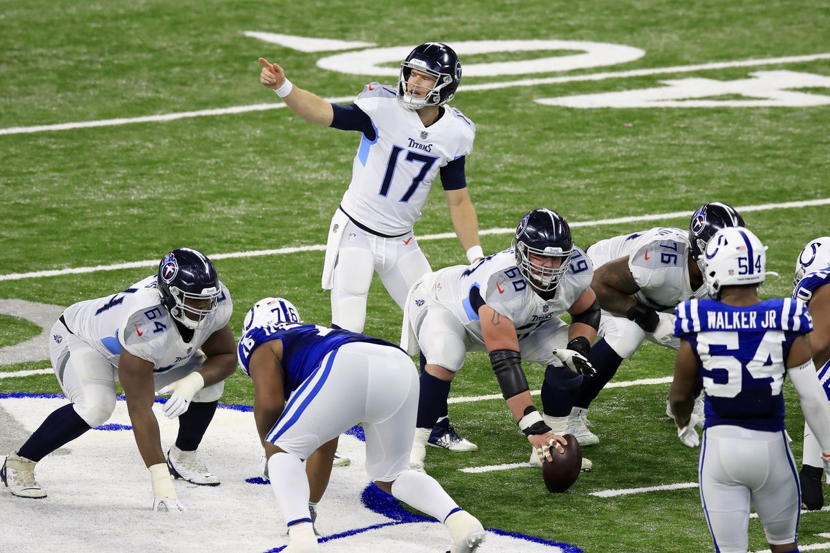 Ryan Tannehill #17 of the Tennessee Titans reacts from the line of scrimmage in the third quarter during their game against the Indianapolis Colts at Lucas Oil Stadium on November 29, 2020 in Indianapolis, Indiana.