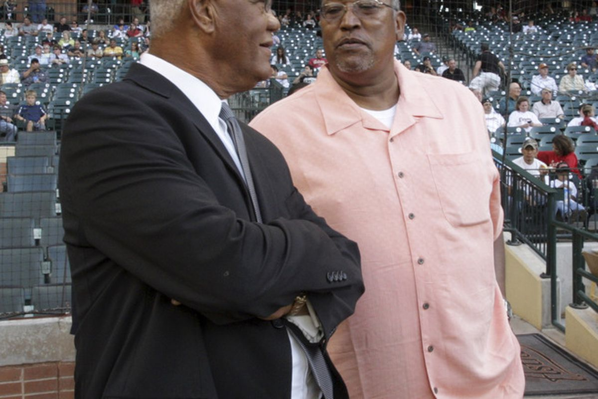HOUSTON - APRIL 15:  Former Astros Enos Cabell (L) and J.R. Richard chat during pre-game ceremonies on Jackie Robinson Day on April 15, 2011