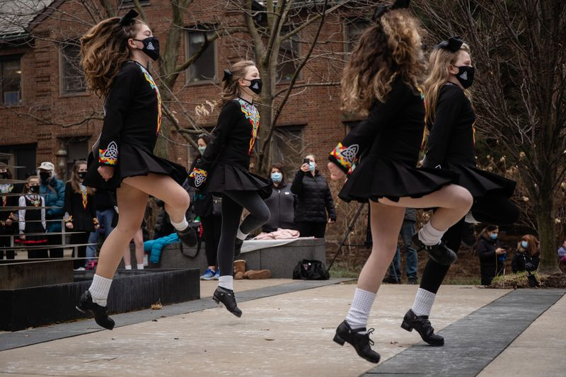 Trinity Irish Dancers perform outside Swedish Covenant Hospital on St. Patrick's Day 2021 to show appreciation for health care workers.