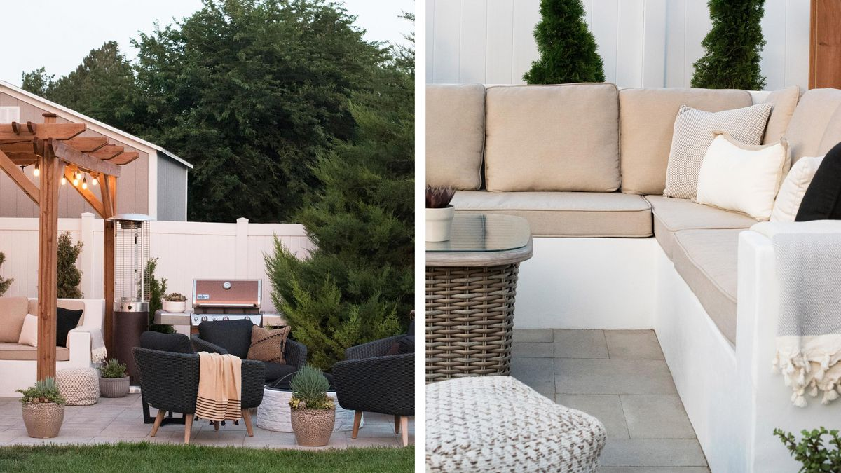 Summer 2021 Outdoor Rooms, Room For Tuesday, privacy fence, concrete sofa