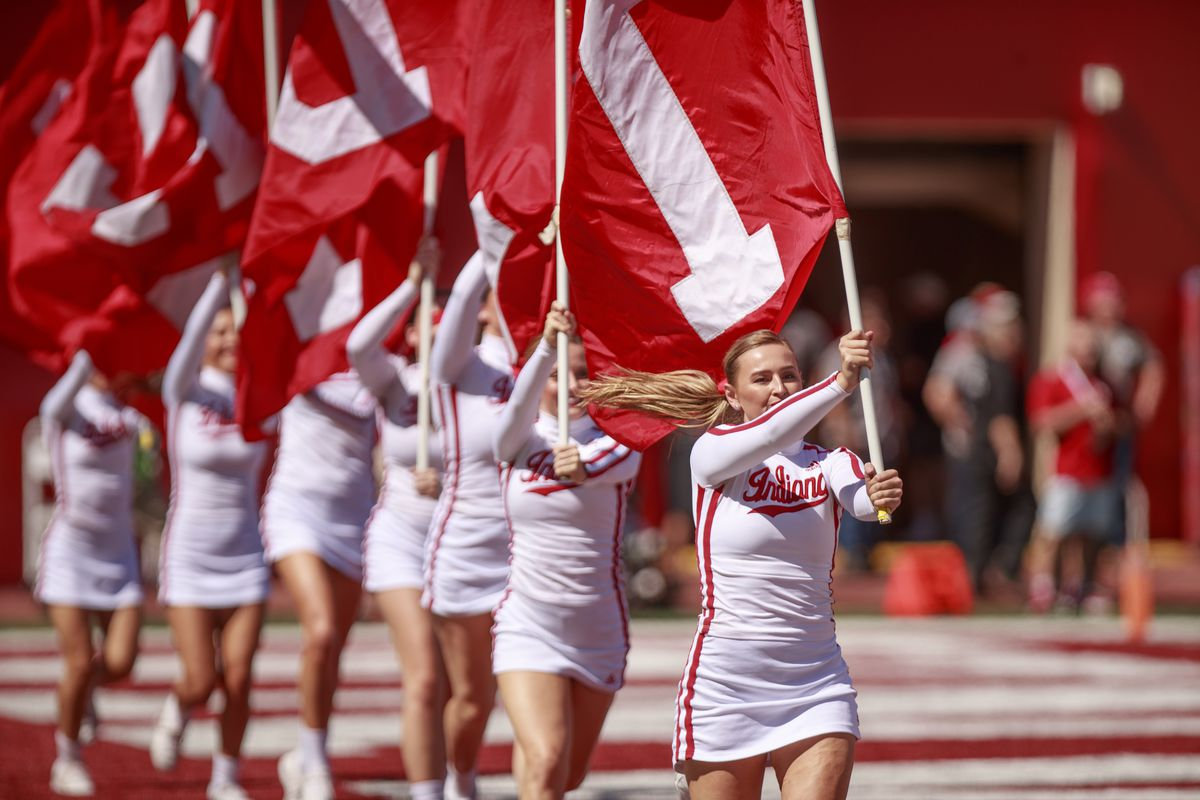 Indiana University's cheerleaders celebrate after the...