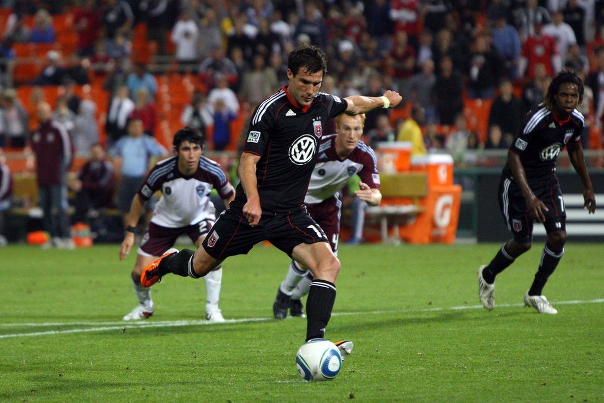 WASHINGTON, DC - MAY 14: Chris Pontius #13 of D.C. United converts a penalty kick against the Colorado Rapids at RFK Stadium on May 14, 2011 in Washington, DC. (Photo by Ned Dishman/Getty Images)